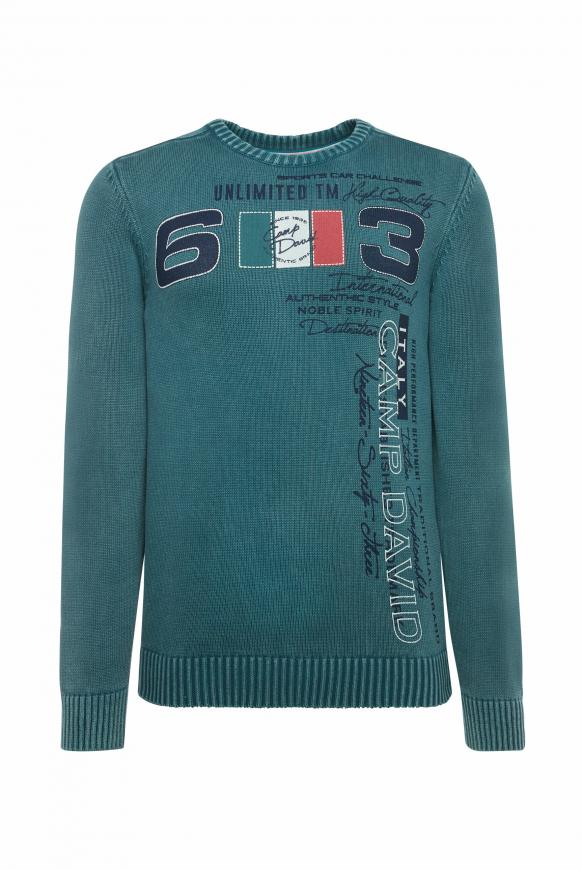 Stone Washed Pullover mit Label Print columbia green