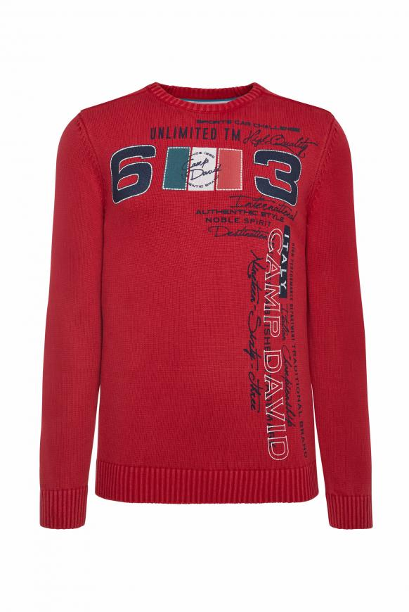 Stone Washed Pullover mit Label Print racing red