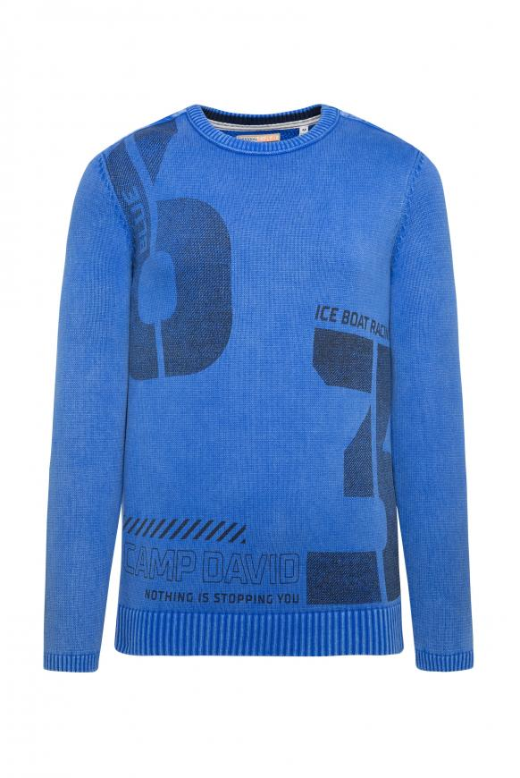 Stone Washed Pullover mit Label Print coastal blue