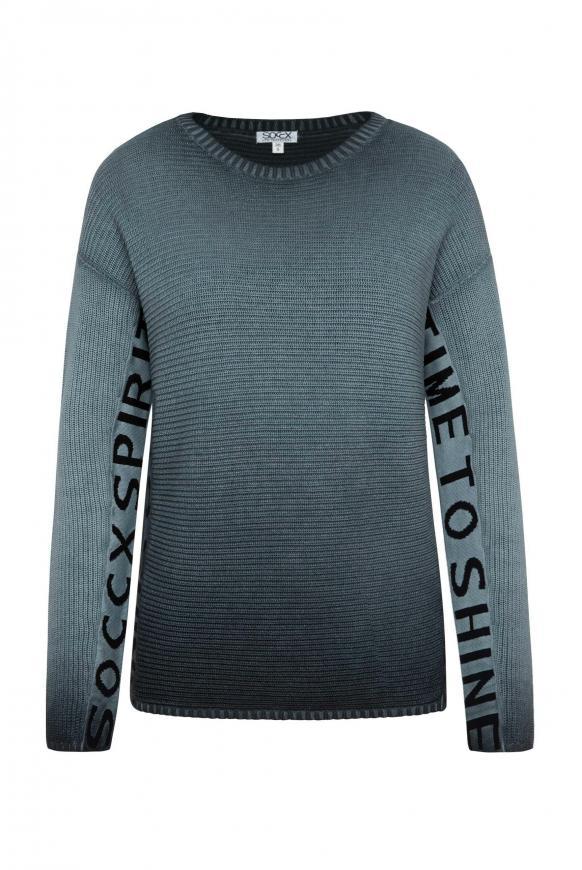 Stone Washed Pullover mit Logo Artwork black