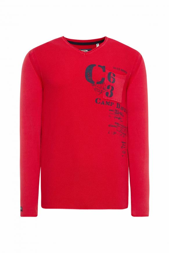 Stone Washed Pullover mit Strickmuster royal red