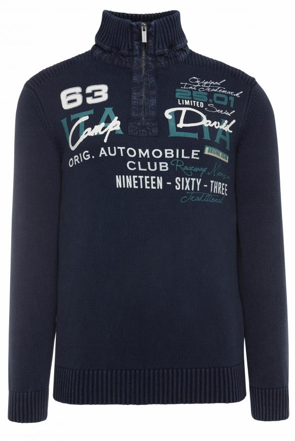 Stone Washed Troyer mit Frontprint blue navy