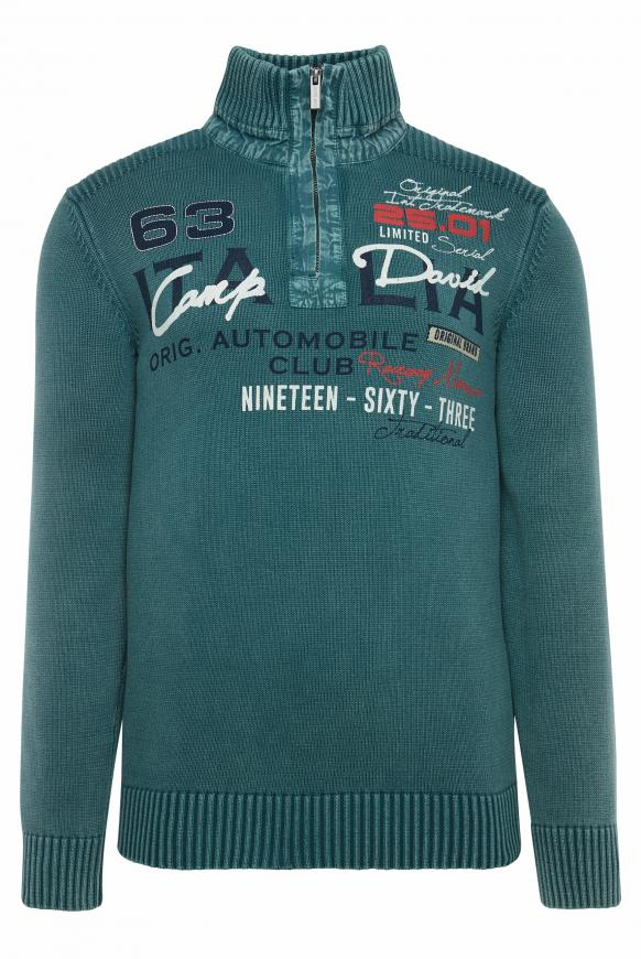 Stone Washed Troyer mit Frontprint columbia green