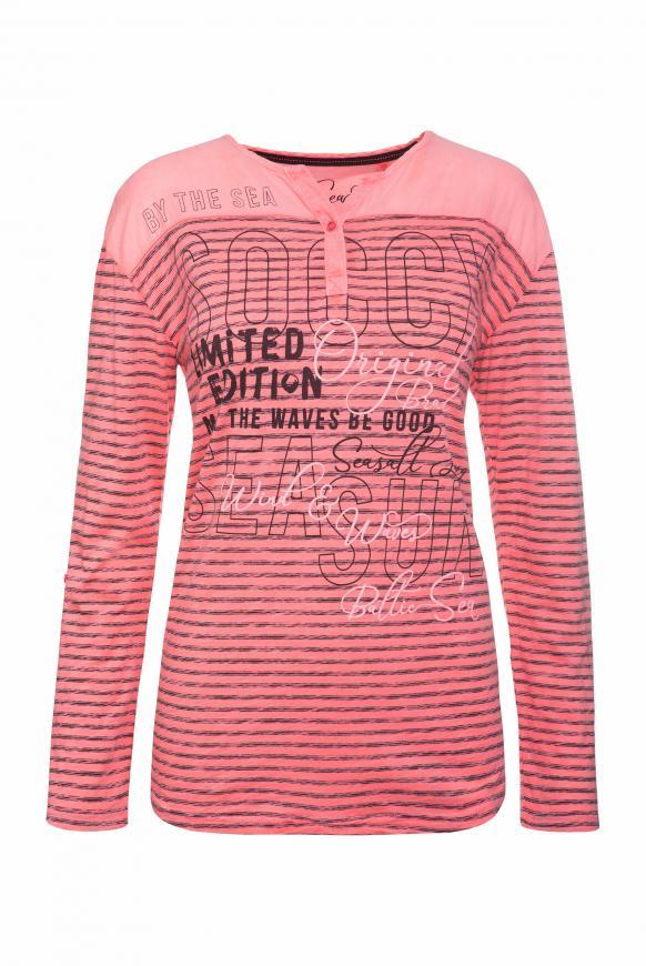 Streifenshirt im Materialmix neon pink