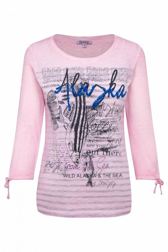Streifenshirt mit 3/4-Arm und Print ocean rose