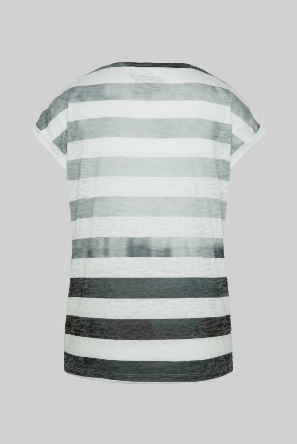 Streifenshirt mit Ausbrennern und Artwork black