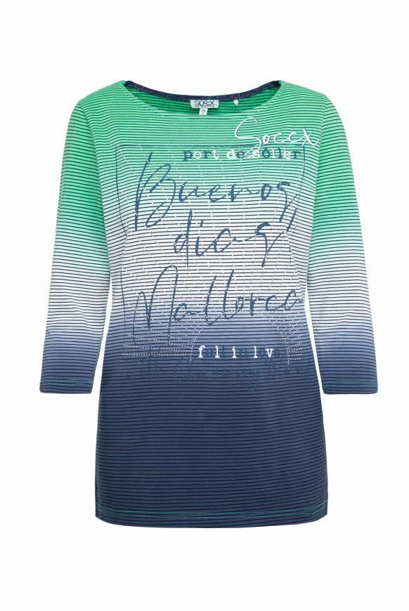 Streifenshirt mit Dip-Dye-Effekt juicy green