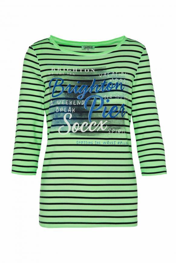 Streifenshirt mit Glitter Print und 3/4-Ärmeln lime punch