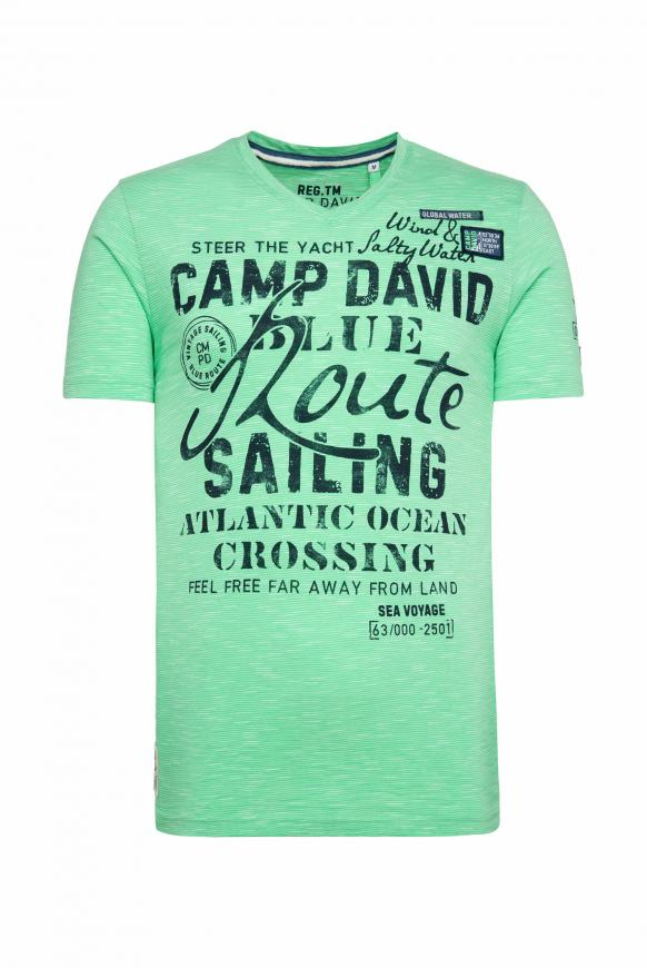 Streifenshirt mit V-Neck und Label Prints green ocean