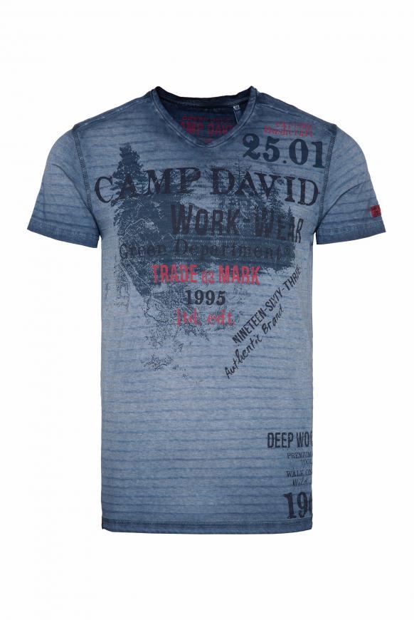 Streifenshirt mit V-Neck und Label Prints blue grey