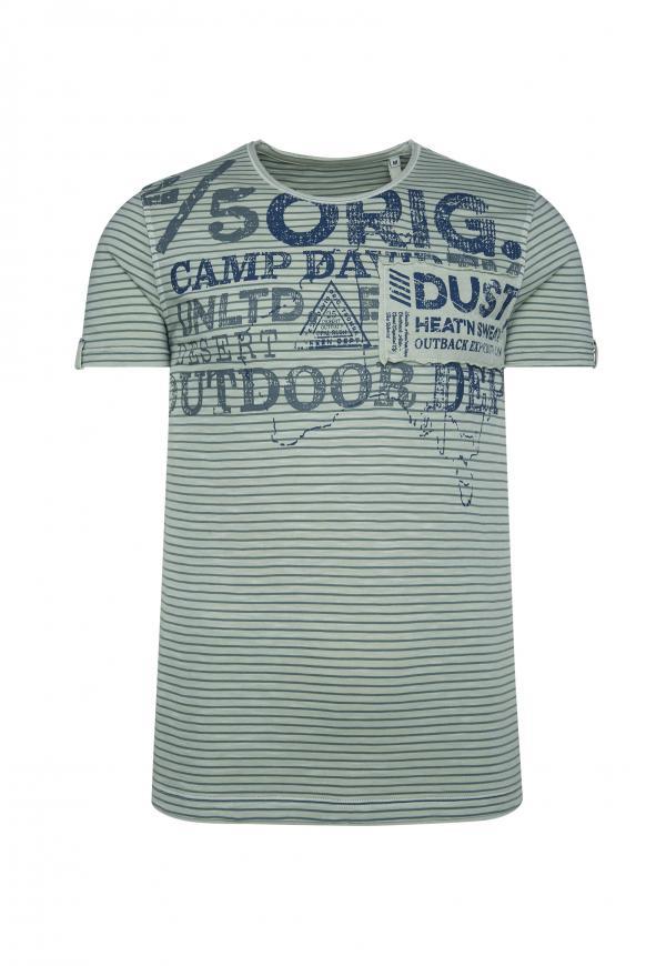 Streifenshirt mit Vintage Print und Patch bamboo green