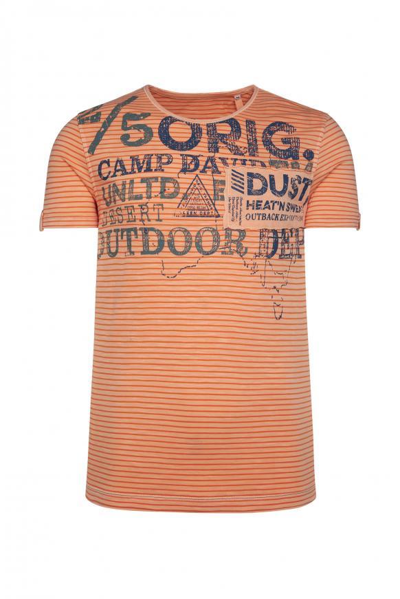 Streifenshirt mit Vintage Print und Patch desert orange
