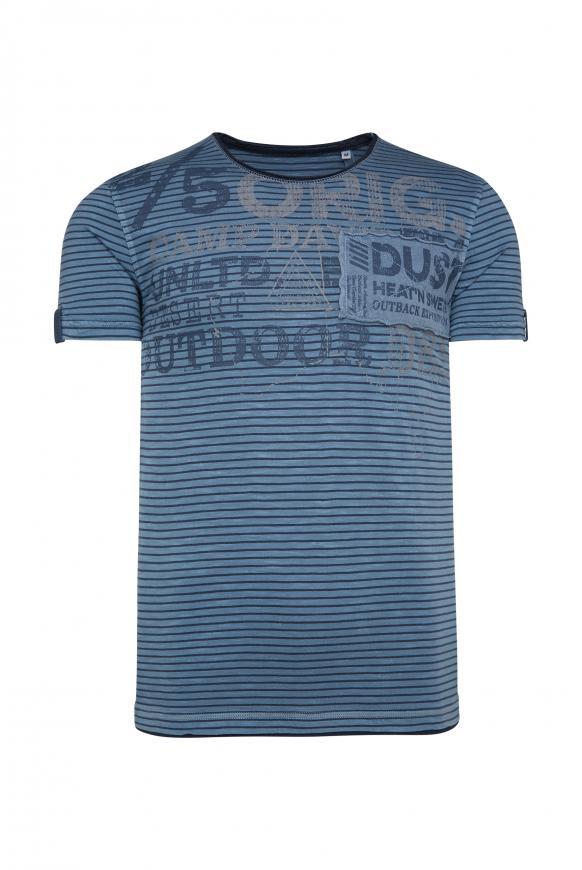 Streifenshirt mit Vintage Print und Patch raw blue