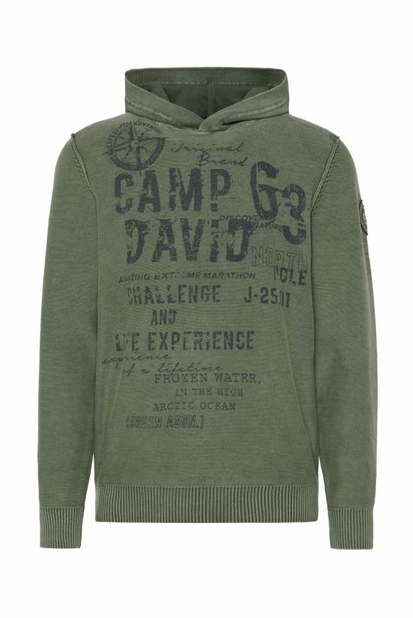 Strick-Hoodie Stone Washed mit Used Prints pure olive
