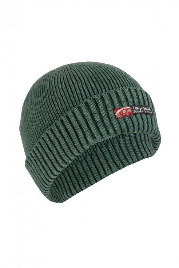 Strickmütze mit Aufschlag und Label Patch grey green