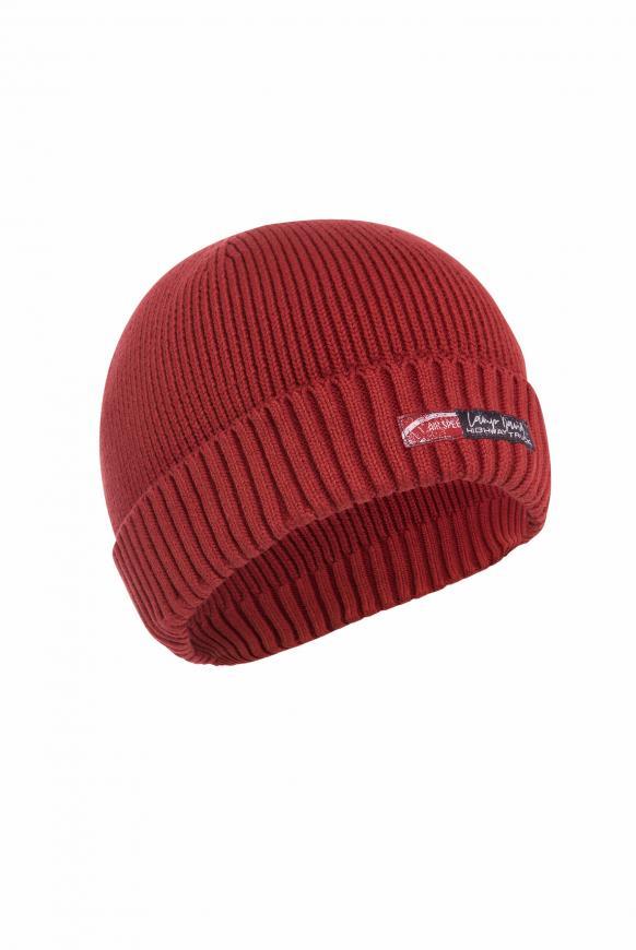 Strickmütze mit Aufschlag und Label Patch maroon red