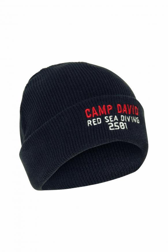 Strickmütze mit Logostickerei deep sea