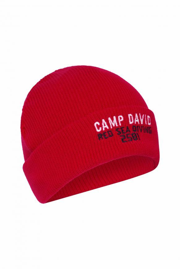 Strickmütze mit Logostickerei royal red