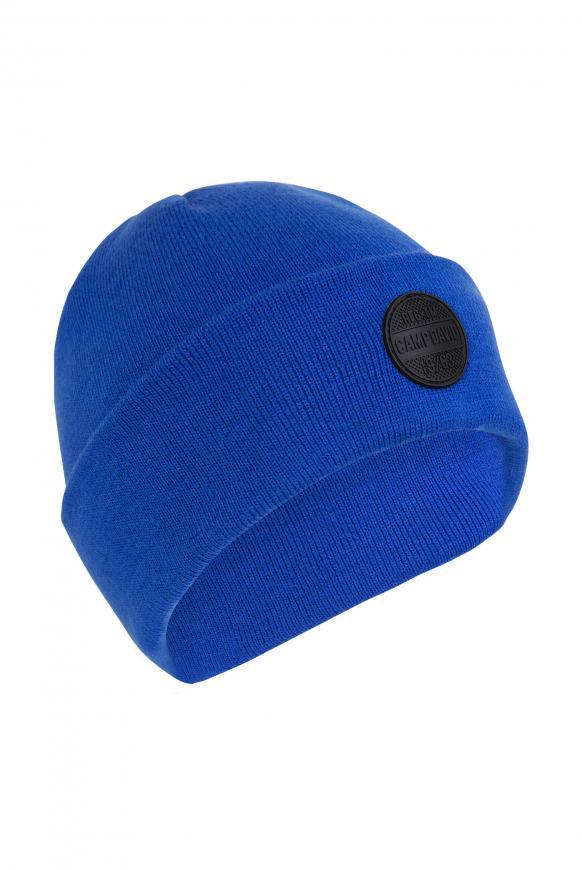 Strickmütze mit Rubber Patch flight blue
