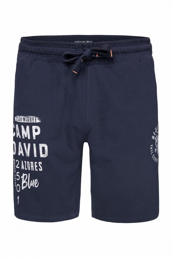 Sweatbermuda mit Used Prints blue navy