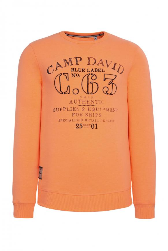 Sweater mit Logo Print und Stickereien neon orange