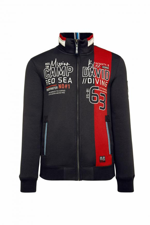 Sweatjacke mit Colour-Design und Artwork deep sea