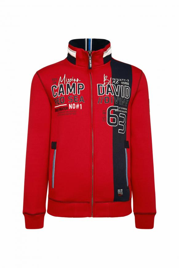 Sweatjacke mit Colour-Design und Artwork royal red