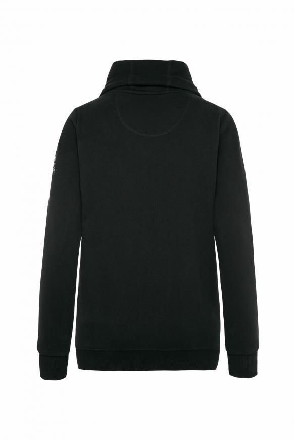 Sweatjacke mit hohem Kragen und Artwork black