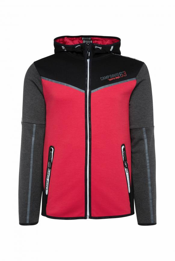 Sweatjacke mit Kapuze und Logo-Tapes bright red