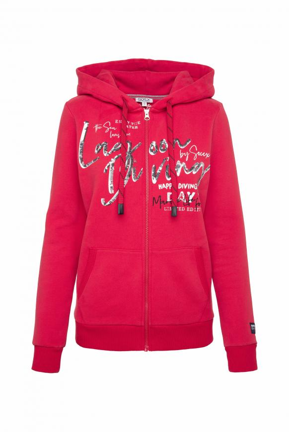Sweatjacke mit Kapuze und Pailletten-Artwork royal red