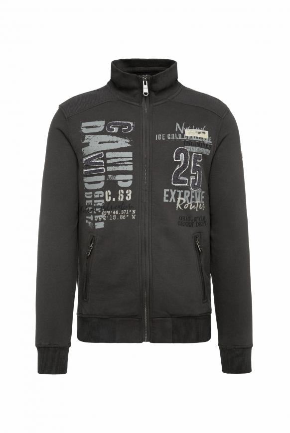 Sweatjacke mit Label-Applikationen ebony