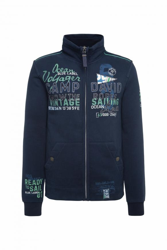 Sweatjacke mit Label-Applikationen new navy