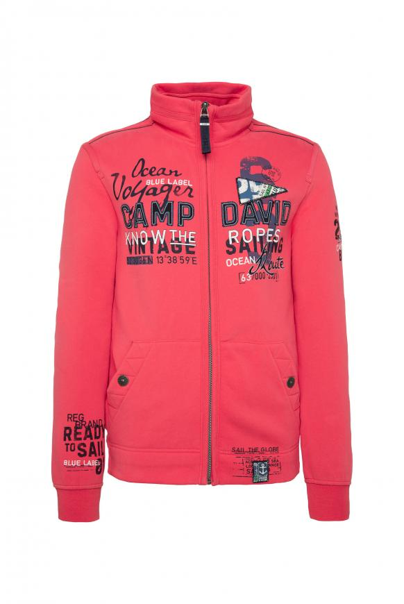 Sweatjacke mit Label-Applikationen skipper red