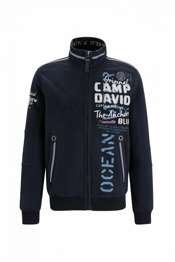 Sweatjacke mit Tapes und Label-Applikationen blue navy
