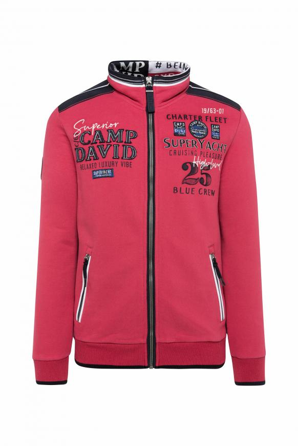 Sweatjacke mit Tapes und Label-Applikationen yacht red