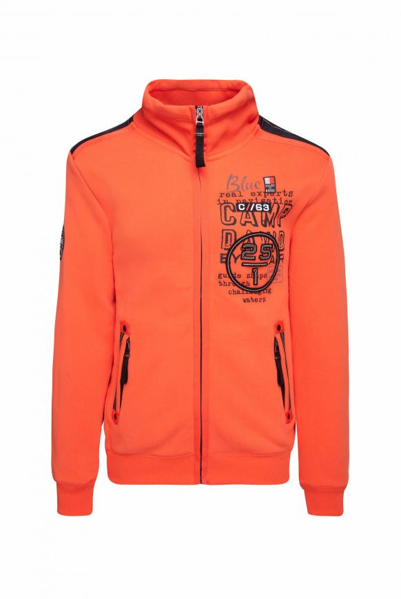 Sweatjacke mit Tapes und Rücken-Artwork signal orange