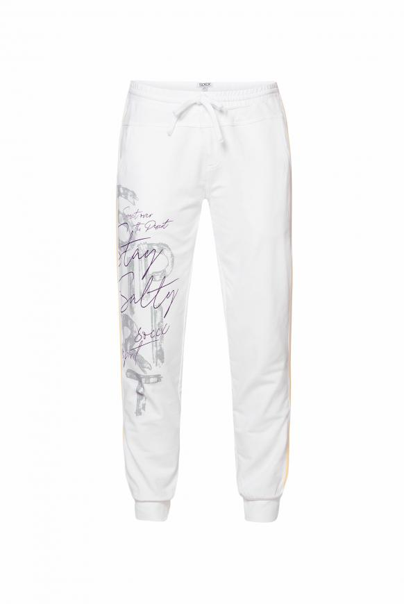 Sweatpants mit Seitentapes und Print opticwhite