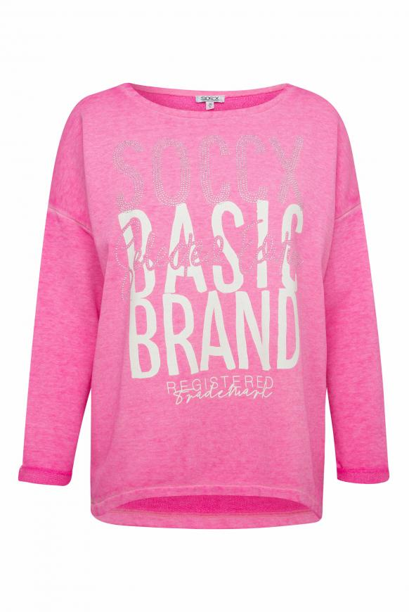 Sweatshirt mit Artwork und 3/4-Arm electric magenta