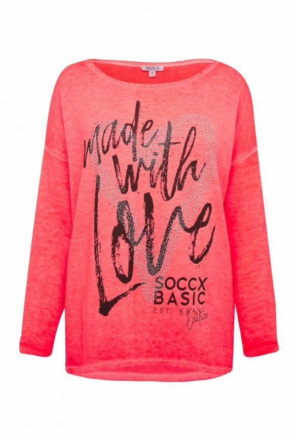 Sweatshirt mit Artwork und 3/4-Arm flashy red
