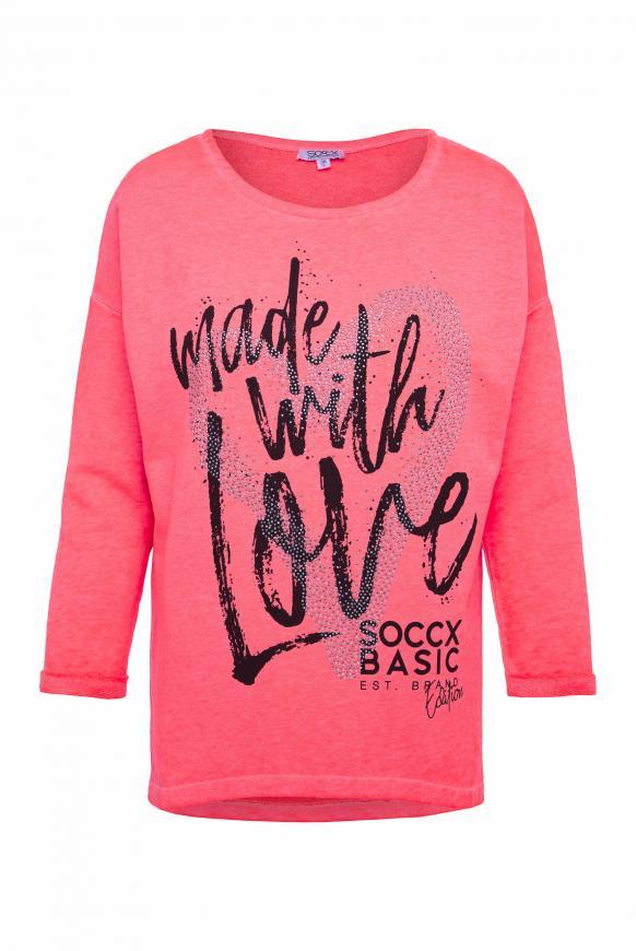 Sweatshirt mit Artwork und 3/4-Arm pinky red