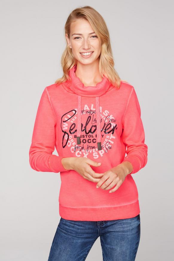 Sweatshirt mit Artwork und hohem Kragen flashy red