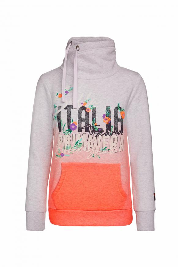Sweatshirt mit Dip-Dye-Effekt und Artwork neon orange