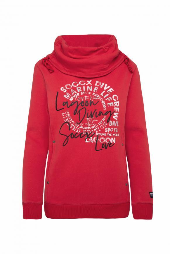 Sweatshirt mit hohem Kragen und Artwork royal red