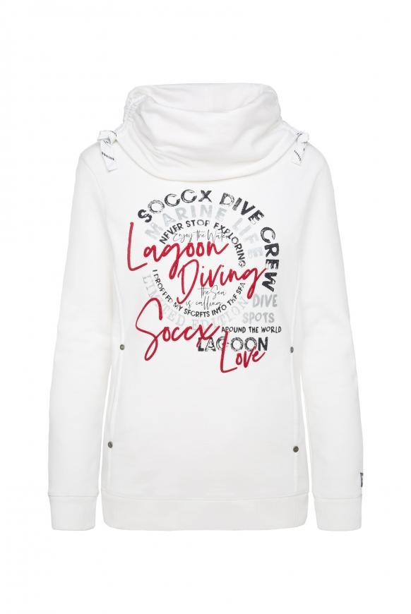 Sweatshirt mit hohem Kragen und Artwork ivory