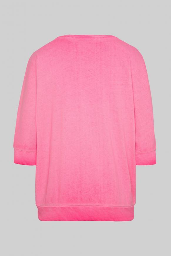 Sweatshirt mit kurzen Ärmeln und Label Print paradise pink