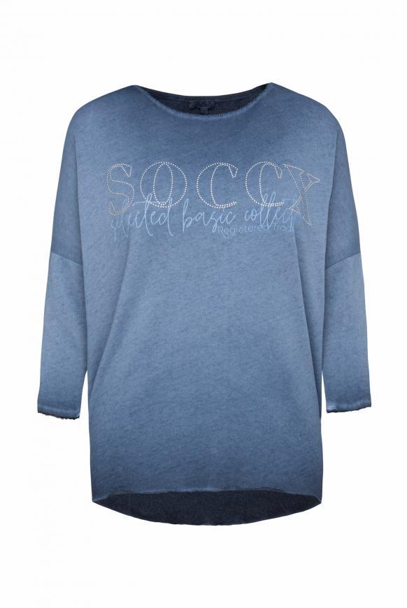 Sweatshirt mit Logo und 3/4-Ärmeln moroccan blue