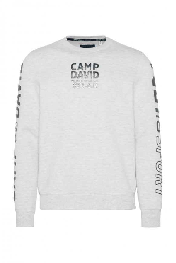 Sweatshirt mit Metallic Rubber Prints white melange