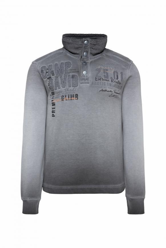 Sweatshirt mit Troyer-Kragen und Strick-Details ebony