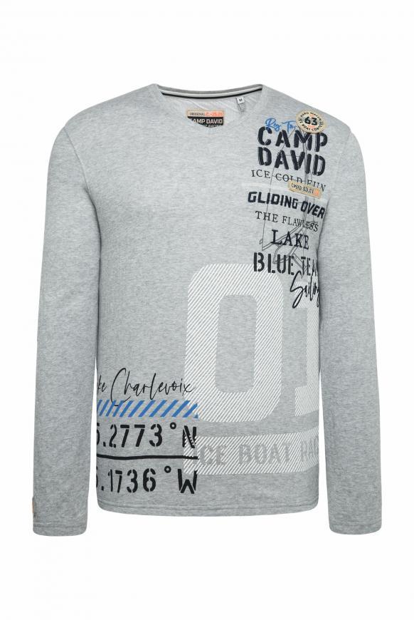 Sweatshirt mit V-Ausschnitt und Artwork grey melange