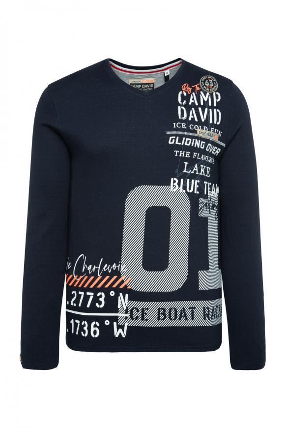 Sweatshirt mit V-Ausschnitt und Artwork blue navy
